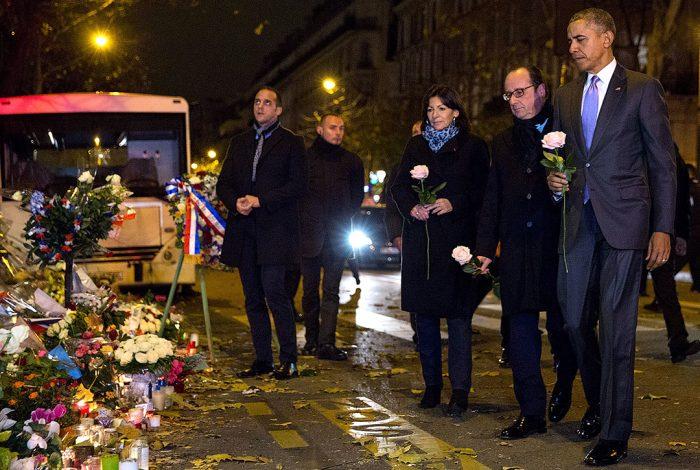 Anna Hidalgo, Francois Hollande and Barack Obama at Paris