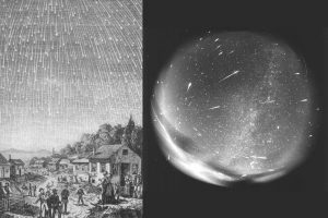 The famous Leonid meteor shower peaks between midnight and dawn on Monday (November 17) and Tuesday (November 18). About these images: (Left) Engraving by Adolf Vollmy based upon an original painting by the Swiss artist Karl Jauslin, that is in turn based on a first-person account of the 1833 Leonid meteor storm by a minister, Joseph Harvey Waggoner on his way from Florida to New Orleans. (Right) 156 bolides were detected on a single (pointed) photographic plate of the all sky fisheye photographic camera during the Leonid meteor shower in 1998 at Modra observatory. The exposure time was 4 hours. Photo Credit: Adolf Vollmy / Wikimedia, Comenius University / Wikimedia (CC BY-SA 3.0)