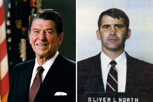 The Iran Contra coverup went into high gear when Oliver North destroyed or hid pertinent documents between November 21 and November 25, 1986. About these photos: Ronald Reagan and Oliver North. Photo Credit: Executive Office of the President / Wikimedia, Unknown / Wikimedia