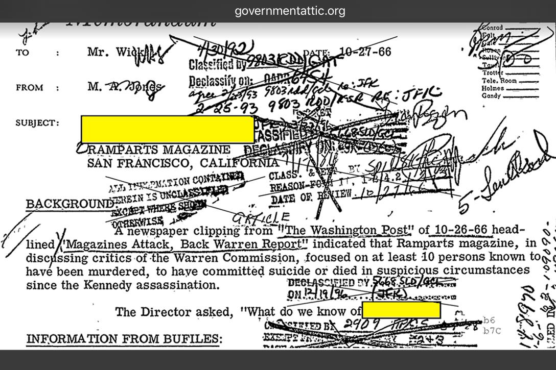 FBI Redactions regarding William W. Turner and Ramparts Magazine Photo credit: governmentattic.org
