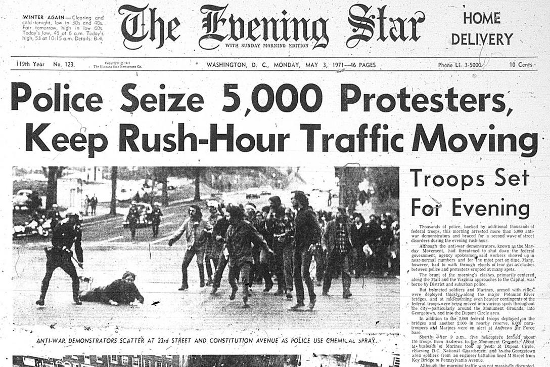 """The Evening Star front page Mayday 1971 with headline """"Police Seize 5,000 Protesters, Keep Rush-Hour Traffic Moving Photo credit: Washington Area Spark / Flickr (CC BY-NC 2.0)"""