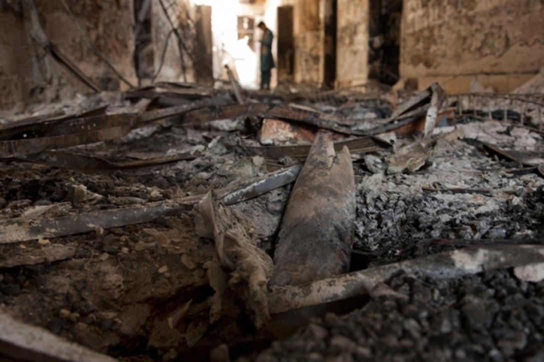 Debris litters the floor in one of the corridors of MSF's Kunduz Trauma center. Photo credit: Victor J. Blue / MSF