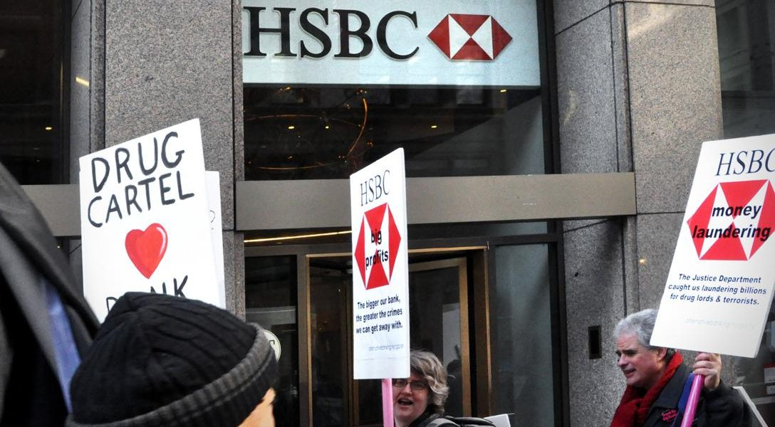 Protesters in front of HSBC Bank