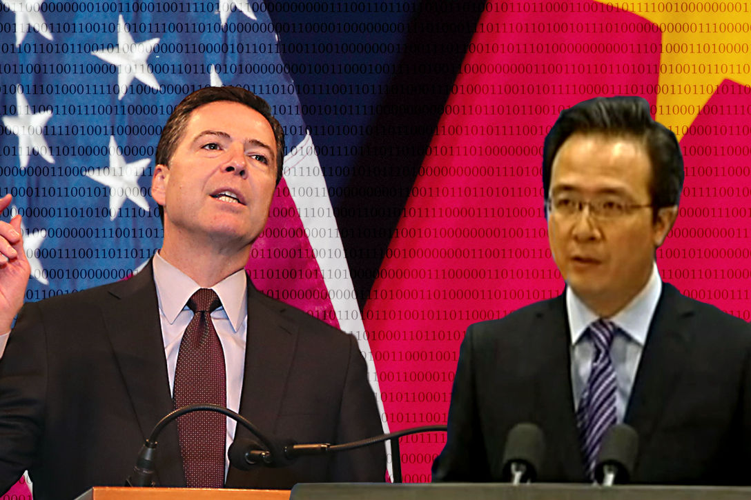 FBI Director James Comey and Chinese Foreign Ministry Spokesperson Hong Lei  Photo credit: Adapted by WhoWhatWhy from U.S. Department of Agriculture / Flickr, FBI.gov and oncenoticiasipn / YouTube