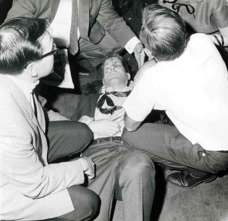 Paul Schrade on the floor of the Ambassador Hotel pantry after the shooting Photo credit: California State Archives