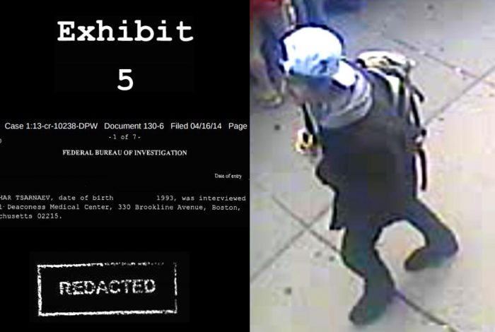 Redacted document, Dzhokhar Tsarnaev with backpack