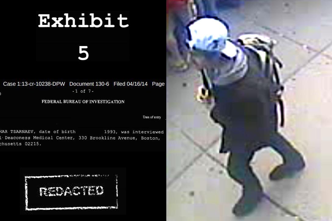 Redacted document, Dzhokhar Tsarnaev with backpack