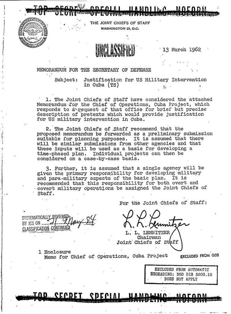 Operation Northwoods Memorandum
