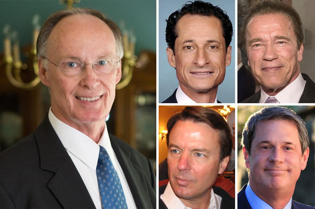 Robert Bentley, Anthony Weiner, Arnold Schwarzenegger, John Edwards, David Vitter