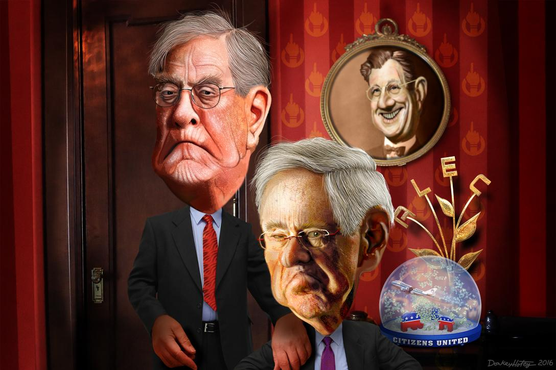 David Koch, Charles Koch, caricatures