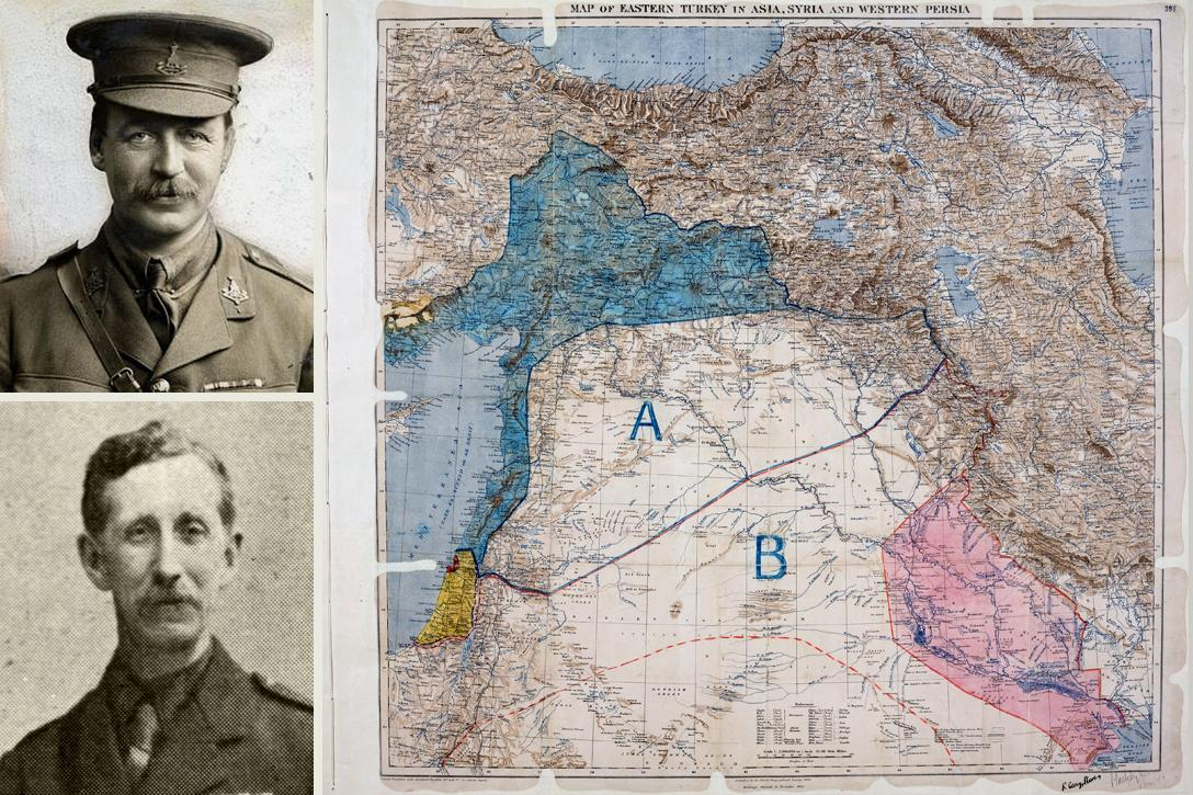 Sir Mark Sykes, François Georges-Picot, Sykes-Picot Agreement Map