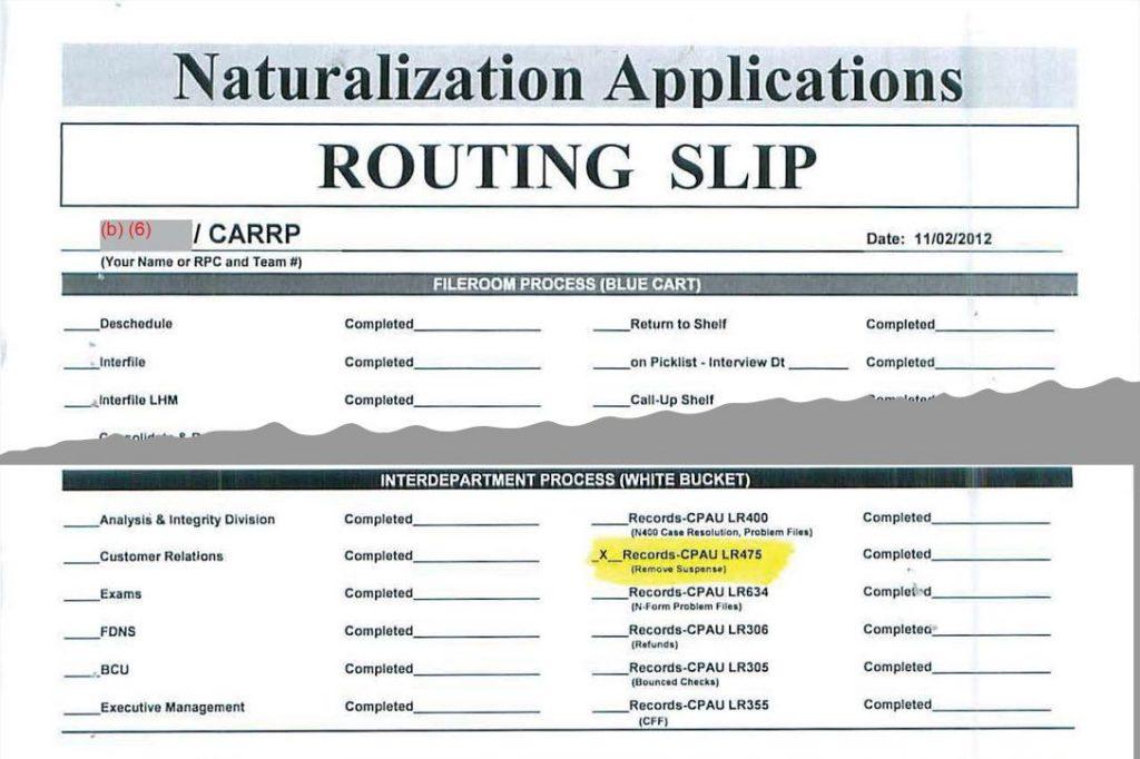 CARRP Routing Slip, Tamerlan Tsarnaev