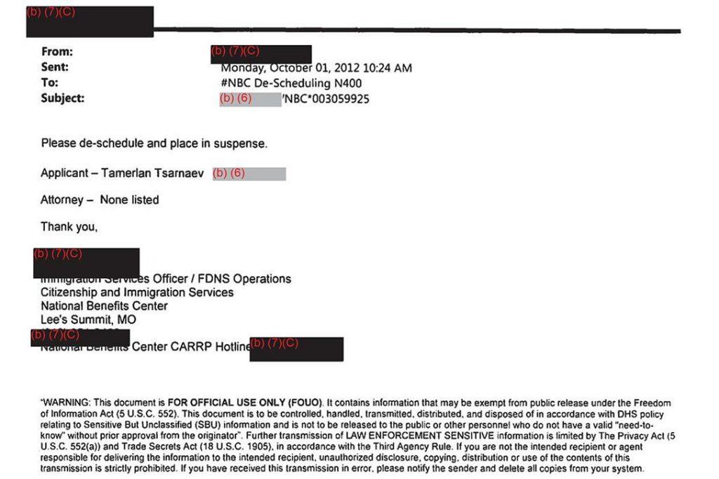 FDNS Email, Tamerlan Tsarnaev