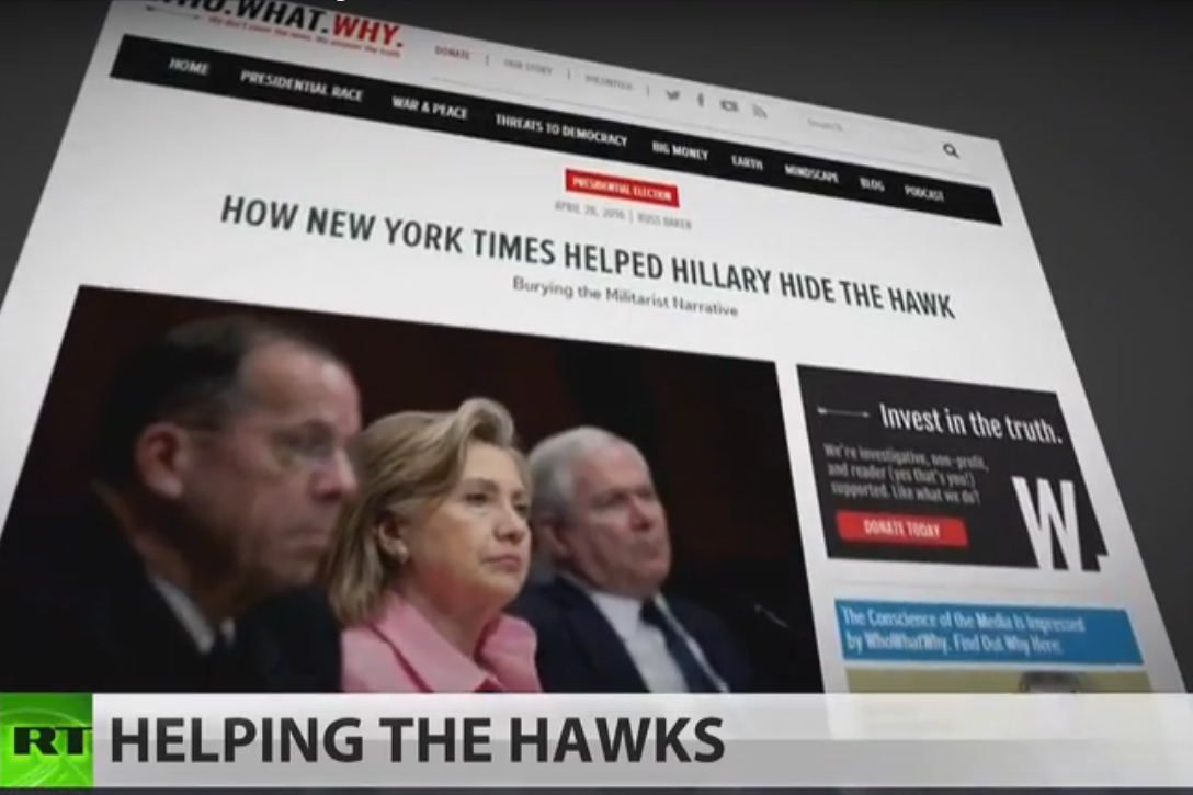 RT America, NYT, Hillary Clinton