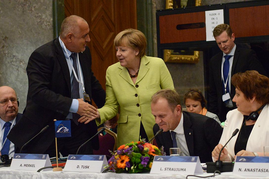 Bulgarian Prime Minister Boyko Borissov with German Chancellor Angela Merkel at EPP EaP Leaders' meeting.  Photo credit: Gatis Rozenfelds / Wikimedia (CC BY 2.0)