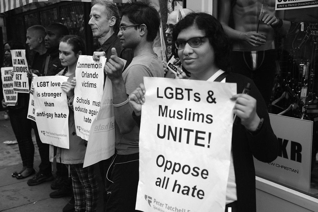 Rally in London's Soho district to show solidarity with the victims of the Orlando nightclub shooting.  Photo credit: Alisdare Hickson / Flickr (CC BY-SA 2.0)