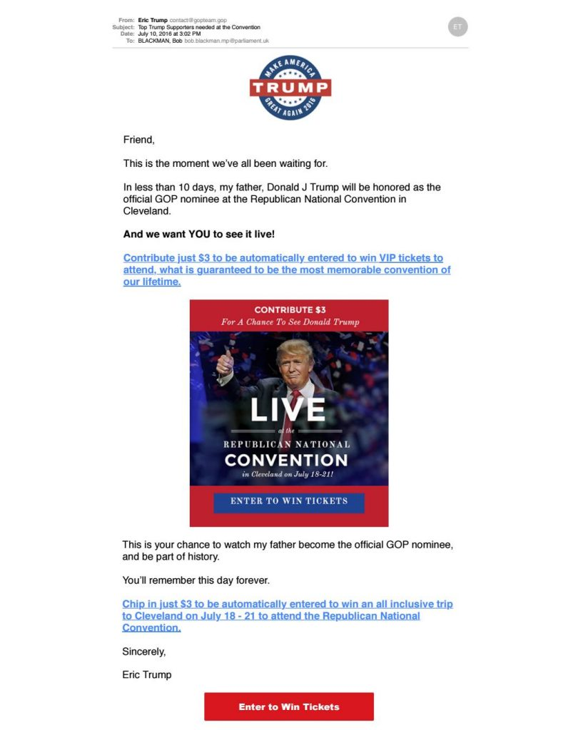 Donald Trump, Campaign Email