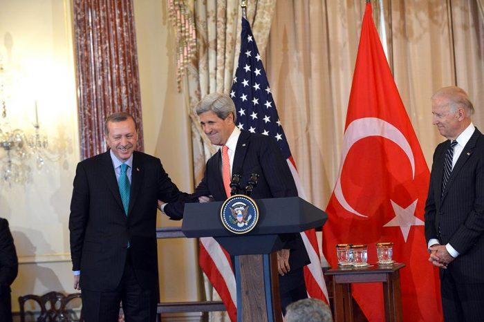 Recep Tayyip Erdogan with John Kerry and Joe Biden. Photo credit: U.S. Department of State / Wikimedia