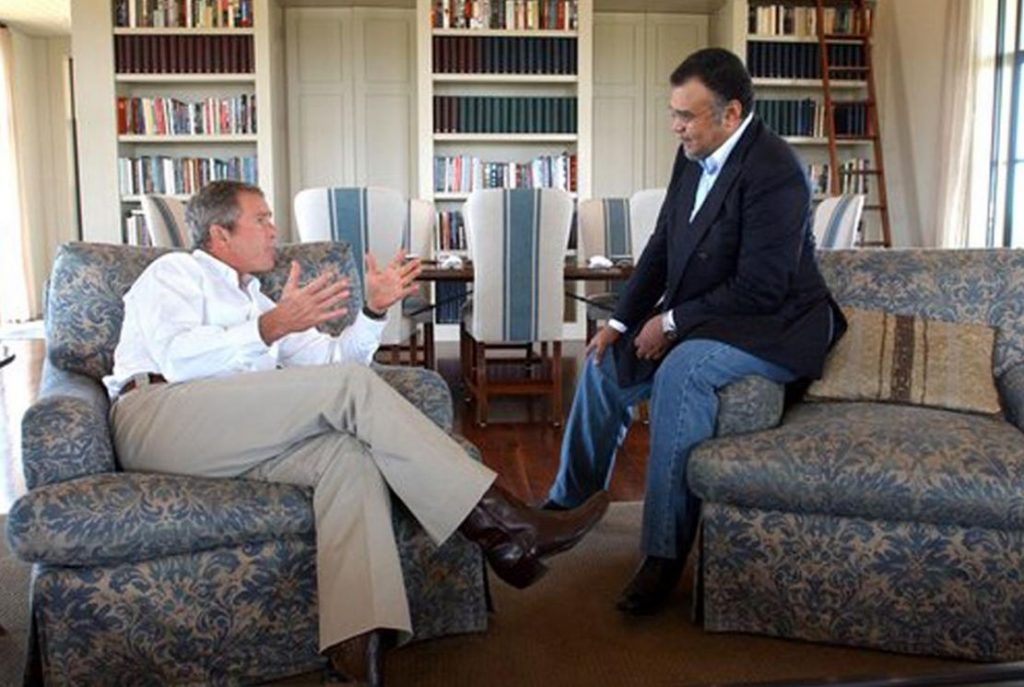 George W. Bush chats with family friend Prince Bandar bin Sultan al Saud in 2002. According to an FBI document, the former Saudi ambassador to the US sent at least one check for $15,000 to a Saudi national linked to the 9/11 attacks on America. Photo credit: White House / Wikimedia