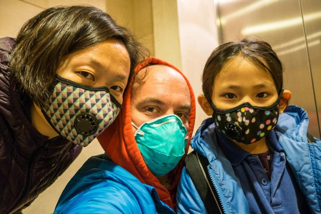 Chinese family with air masks
