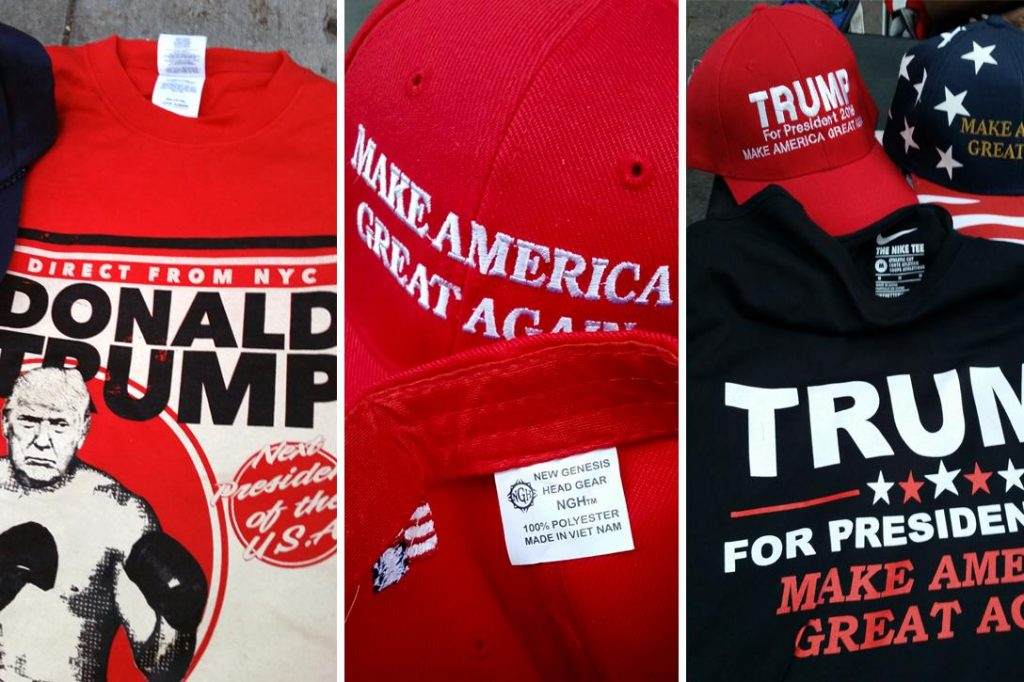 Trump campaign gear for sale at the 2016 Republican National Convention Photo credit: Jon Hecht / WhoWhatWhy