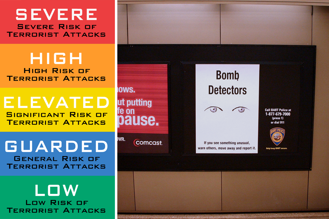 Homeland Security Chart and Bomb Detectors in BART