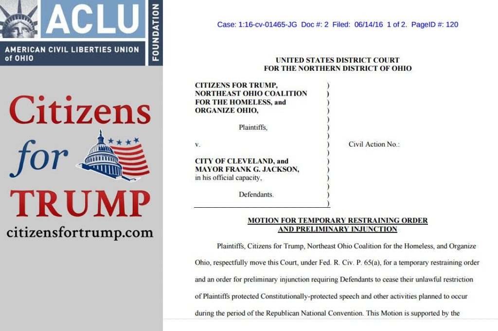 ACLU Ohio, Citizens for Trump