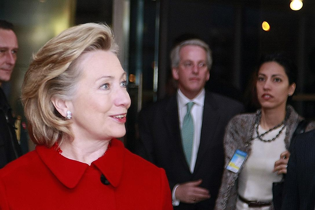 US Secretary of State Hillary Rodham Clinton in Brussels, Belgium December 4, 2009 with Huma Abedin (far right). Photo credit: US Department of State / Flickr