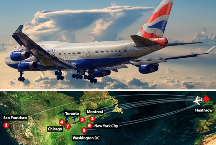 British Airways Boeing 747-400 (top) and targeted flights (bottom) Photo credit: Luis Argerich / Wikimedia (CC BY 2.0) and Transportation Security Administration / Wikimedia.
