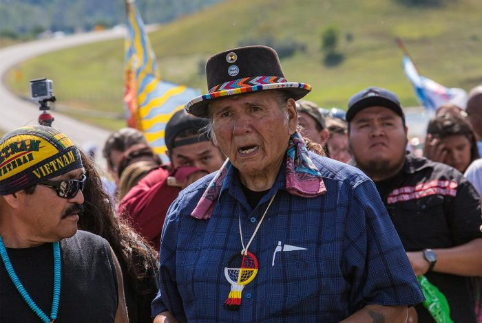 Dakota Access Pipeline prayer walk led by Dennis Banks. Photo credit: With permission from Paula Bard