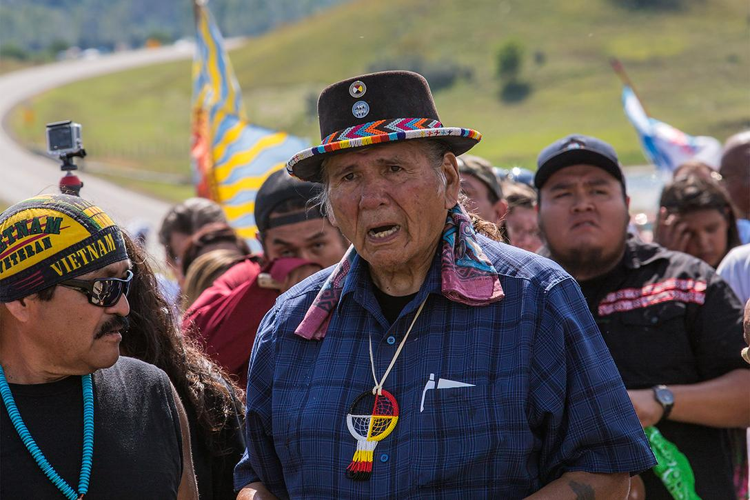 Dakota Access Pipeline prayer walk led by Dennis Banks.Photo credit: With permission from Paula Bard