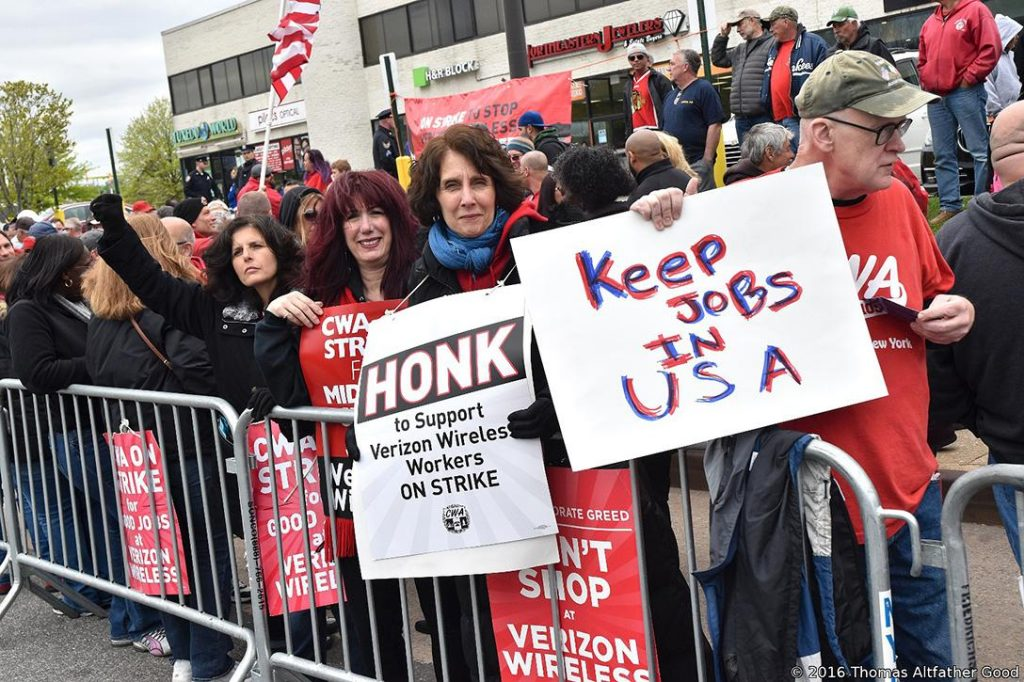 Verizon Strike National Day of Action, May 5, 2016. Photo credit: Thomas Altfather Good / Flickr (CC BY-ND 2.0)