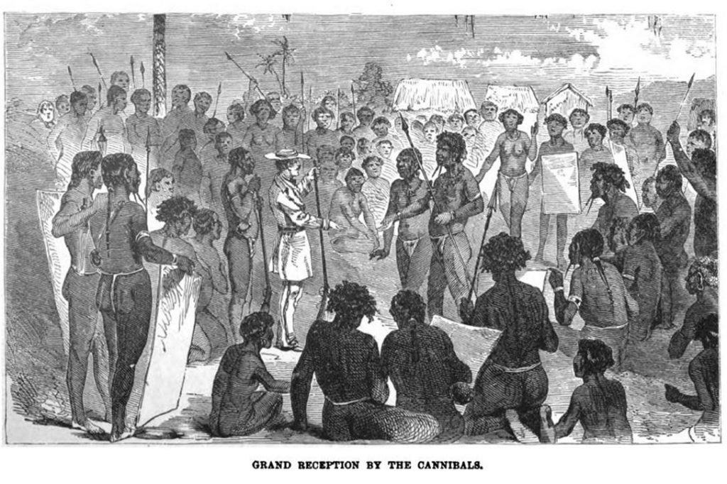 Grand Reception by the Cannibals. (Book plate, 1890) Photo credit: Adventures in the Great Forest of Equatorial Africa and the Country of the Dwarfs / Google Books