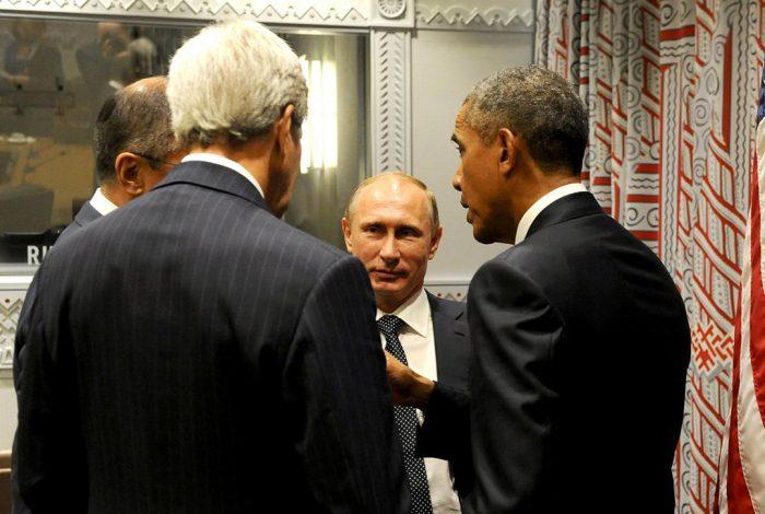 Vladimir Putin, John Kerry, Barack Obama