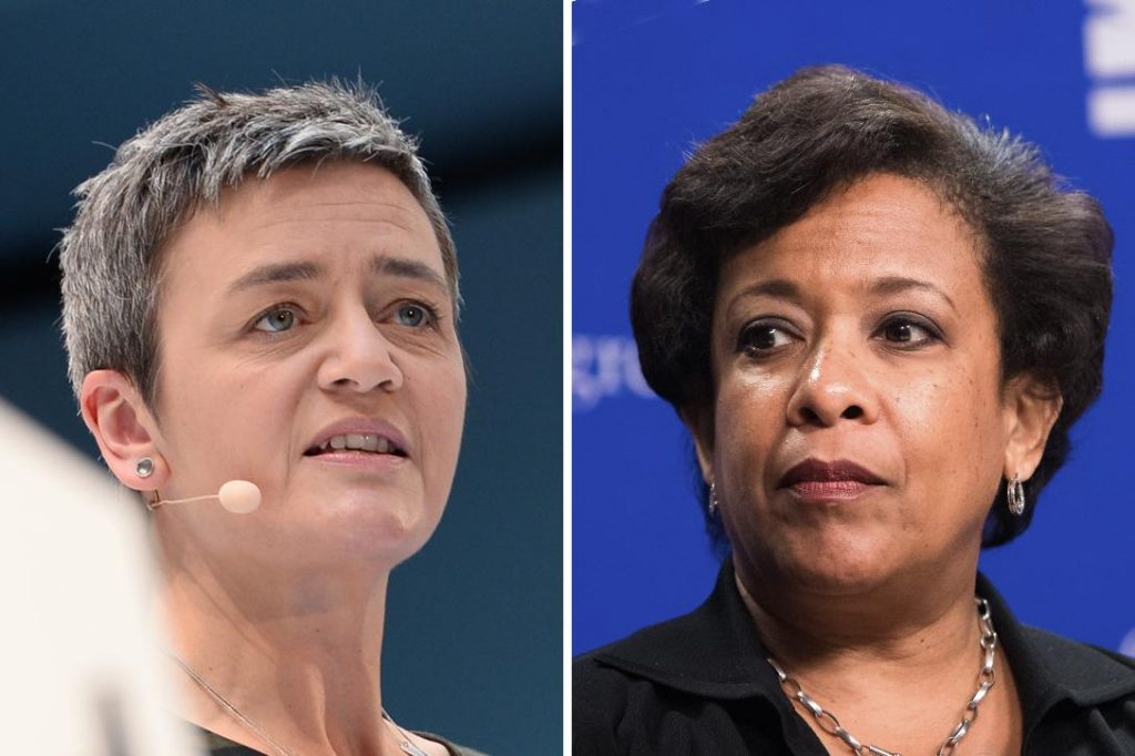 EU antitrust chief Margrethe Vestager (left) and Attorney General Loretta Lynch (right) Photo credit: Hubert Burda Media / Flickr (CC BY-NC-SA 2.0) and US Department of Labor / Flickr (CC BY 2.0)