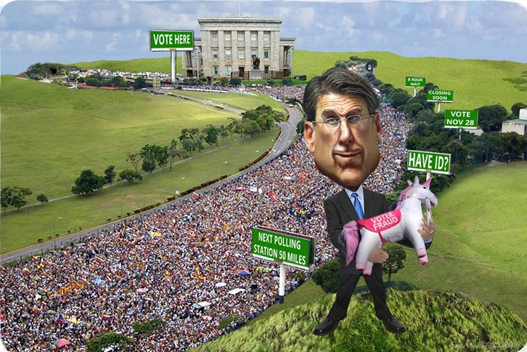 North Carolina Governor Pat McCrory pretends to believe in unicorns.  Photo credit: DonkeyHotey / WhoWhatWhy (CC BY-SA 2.0) See complete attribution below.