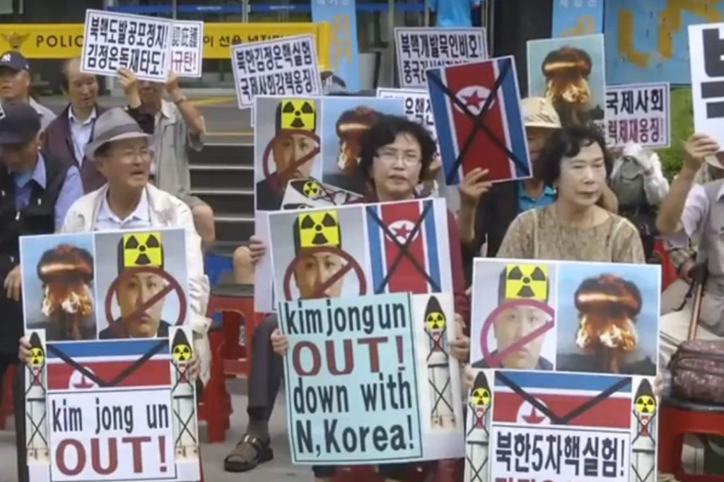 South Koreans protest North Korea's latest nuclear test.Photo credit: SeongBin Kang / YouTube (Creative Commons Attribution license - reuse allowed)