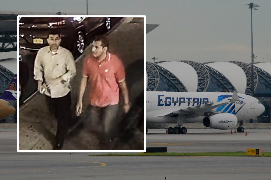 Hassan Ali and Abou Bakr Radwan from FBI flyer. EgyptAir Airbus A330-200. Photo credit: Federal Bureau of Investigation and Aero Icarus / Wikimedia  (CC BY-SA 2.0)