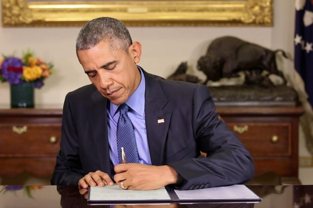 President Barack Obama commuting the sentences of 46 prisoners. Photo credit: The White House / YouTube