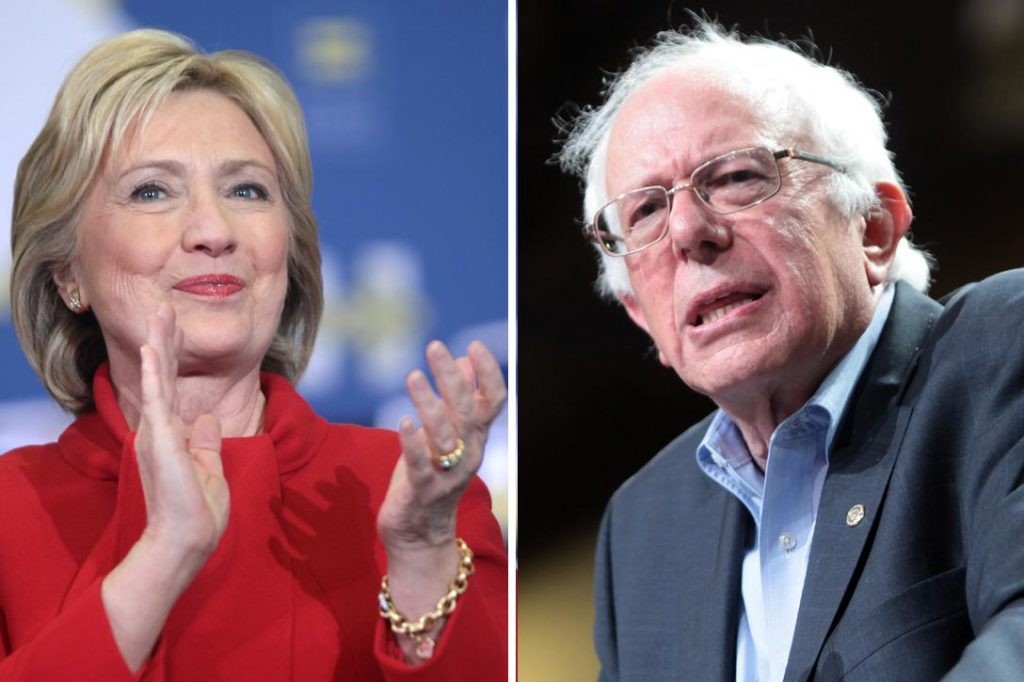 Hillary Clinton and Bernie Sanders. Photo credit: Gage Skidmore / Flickr (CC BY-SA 2.0) and Gage Skidmore / Flickr (CC BY-SA 2.0)