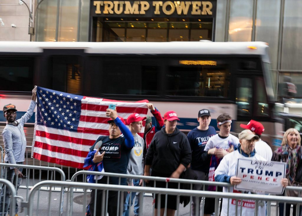 Trump supporters in front of Trump Tower. Photo credit: Marco Verch / Flickr (CC BY 2.0)