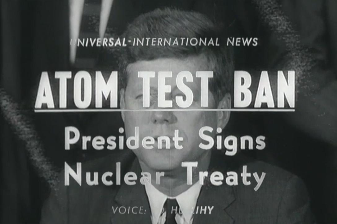 Atom Test Ban: President Signs Nuclear Treaty, October 7, 1963. (Newsreel screenshots)Photo credit: Adapted by WhoWhatWhy from Universal Newsreels / JFK Library