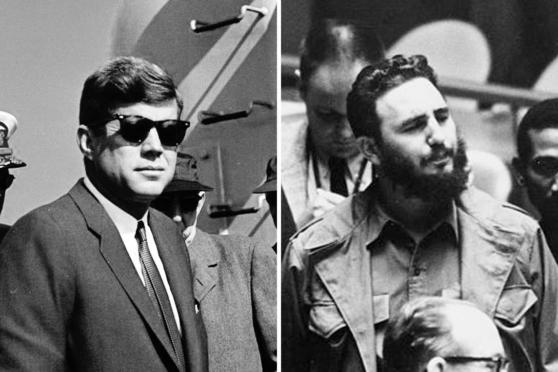 President John F. Kennedy (left) and Fidel Castro (right)
