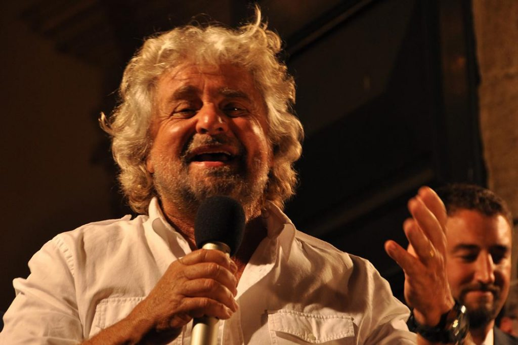 Beppe Grillo, leader of the Five Star Movement party. Photo credit: pasere / Flickr (CC BY-NC-ND 2.0)