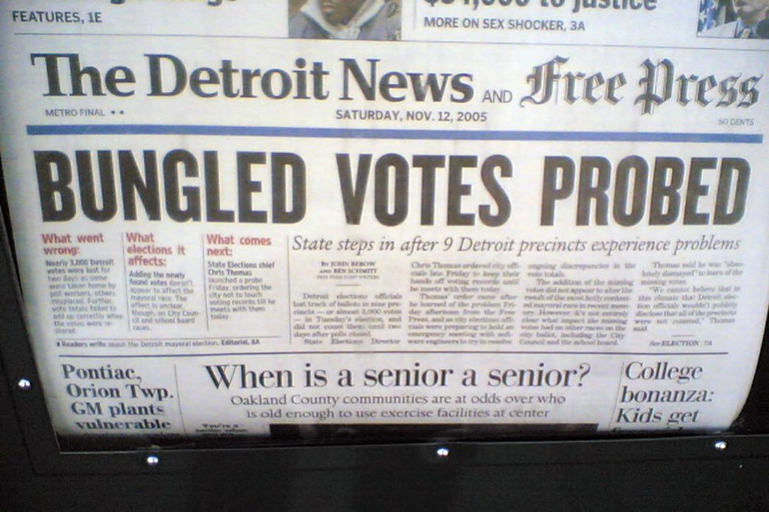 Voting problems are not new to Detroit. The cover of the Detroit News from November 12, 2005. Photo credit: jm3 on Flickr / Flickr (CC BY-SA 2.0)