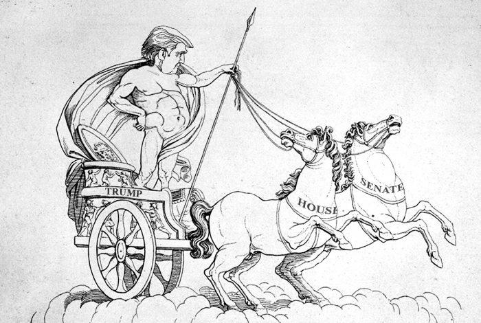 Donald Trump, gladiator, chariot