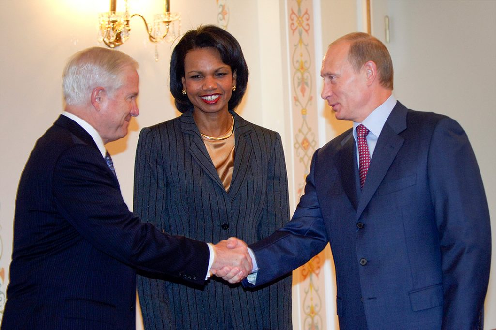Robert Gates, Condoleezza Rice and Vladimir Putin