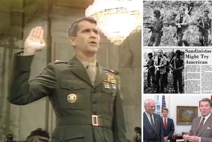 Oliver North, Eugene Hasenfus, Ronald Reagan, Adolfo Calero