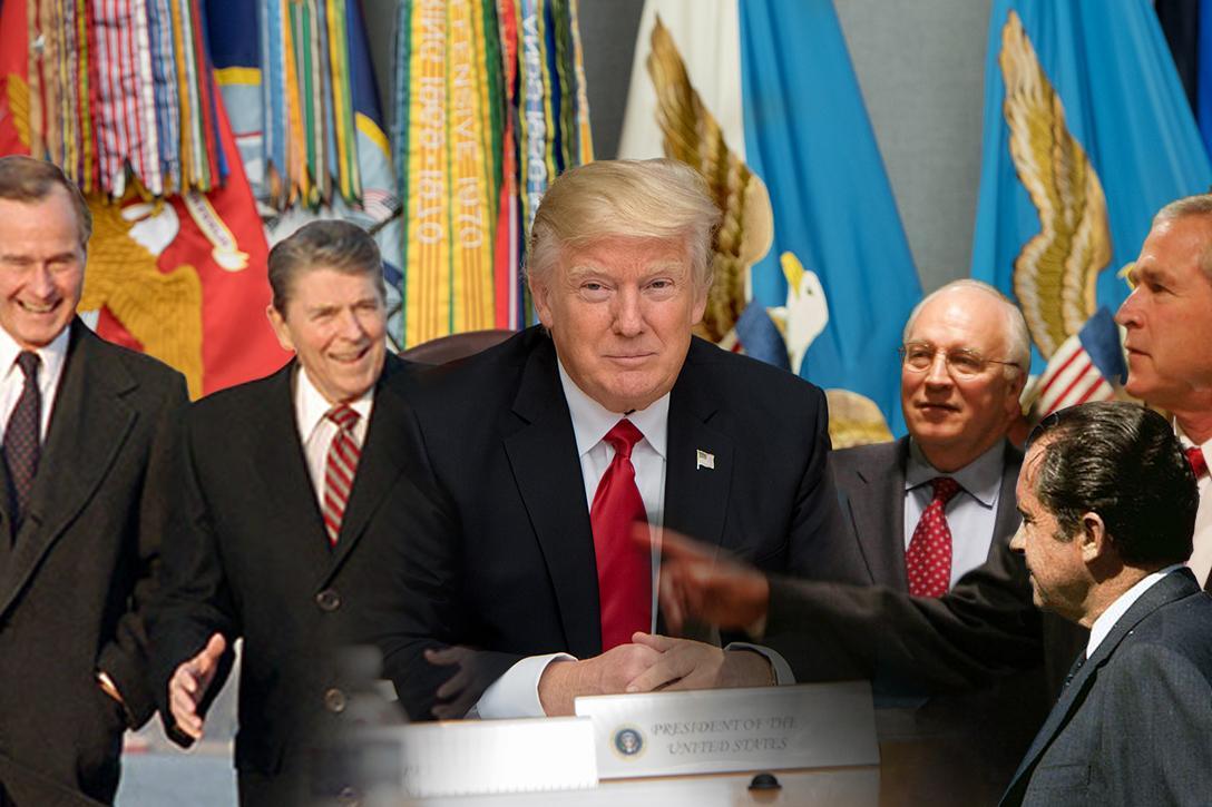 Bush, Reagan, Trump, Cheney, Nixon