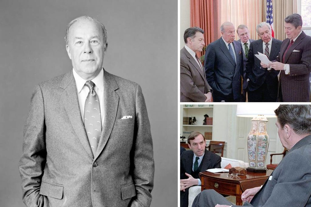 George Shultz, Ronald Reagan, Caspar Weinberger, Ed Meese, Don Regan, Elliott Abrams, John Whitehead